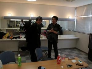 本番前楽屋にて、伊藤さんと